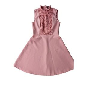 Zara Dusted Pink Lace Detail Dress. Size XS